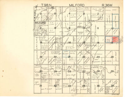 PLAT Map Milford, Dickinson County, Iowa 1930