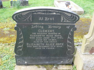 Gravestone for Clement and Elizabeth Alice Hope