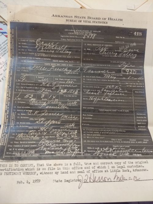 dottie (dorothy) jones death certificate