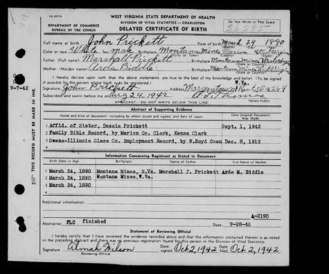 John R Prickett (1889-1965) | WikiTree FREE Family Tree