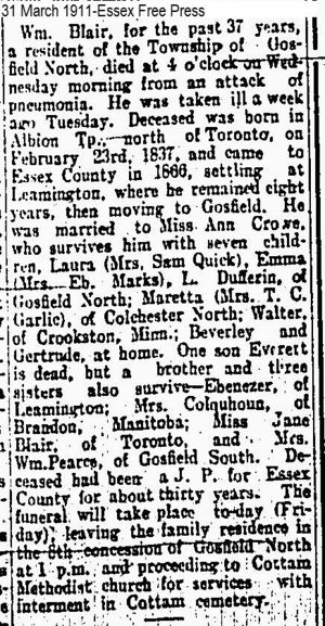 Obituary of William Blair husband of Sarah Crow