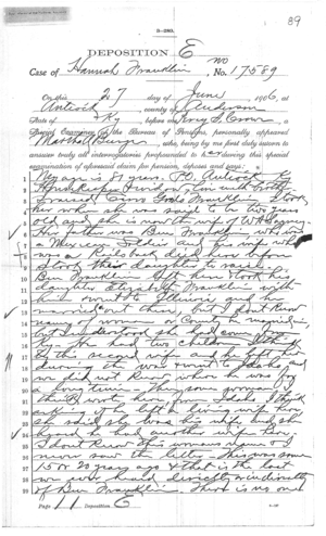 Deposition of Martha Burge Page 1