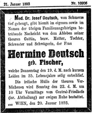 Hermine Deutsch death notice