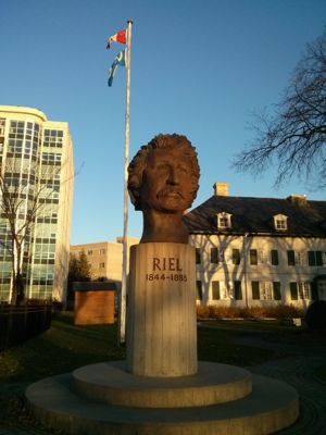 Bust of Louis Riel in front of St. Boniface Museum