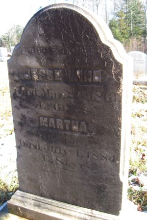 Jesse Wing, Jr and Martha Browning Wing headstone