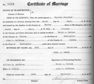 Henry Allen Walker and Alma May Jeffries marriage certificate.
