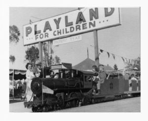Emy, Woody, Karen, and Bobby Hunt on the train at Playland
