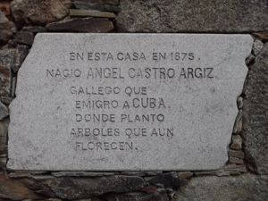 Commemorative plaque at Fidel Castro's father's native house in Láncara, Galicia, Spain