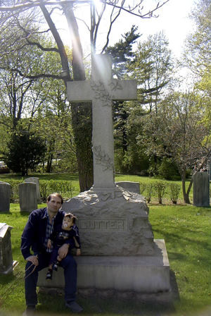 The Gravestone of Bloodgood Haviland Color, with distant cousin Chris Haviland & son Forest.