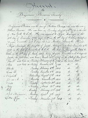 Benjamin Benson Family Born and Died List