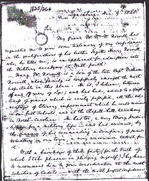Fayette H. Norvell - Application to West Point 1825 Letter From Brother's Friend Page 4
