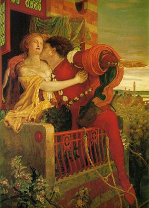 Oil painting by Ford Madox Brown depicting Romeo and Juliet's famous balcony scene.