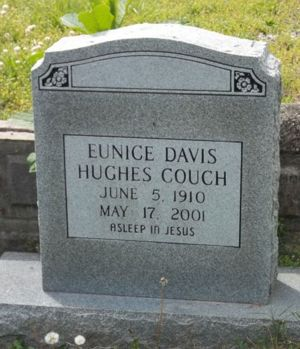 Eunice Davis Hughes Couch Burial Marker