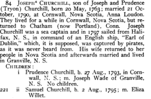 Joseph Churchill Genealogy
