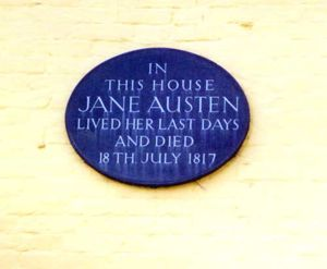 Marker on Jane Austen's Residence