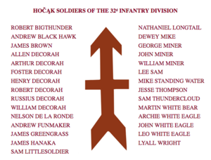 Hocak Soldiers who Served in the 32nd Infantry Division in WWI