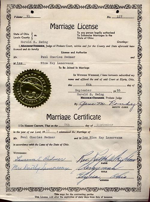 Lamoreaux, Nina - Marriage License