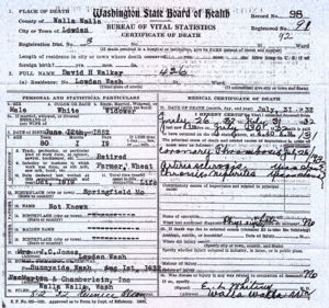 David Crockett Walker's death certificate.