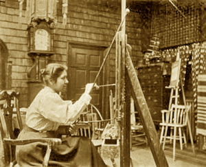 Angel De Cora at Her Easel