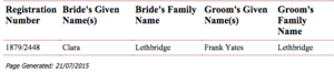 BDM Marriage cert Clara	Lethbridge & Frank Yates	Lethbridge