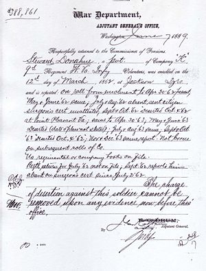 War Department Letter of 07 June 1889 Stating that the Charge of Desertion Could Not Be Removed