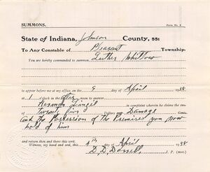 Summons issued by D. D. Dorrell, J.P.
