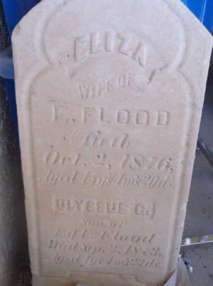 Eliza and Ulyssus G. Flood headstone