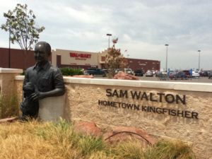 Walmart in Kingfisher Oklahoma with statue of Walton & his dog