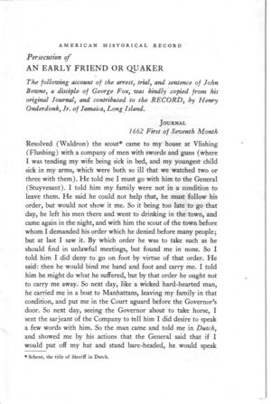 Persecution of Early Friend or Quaker