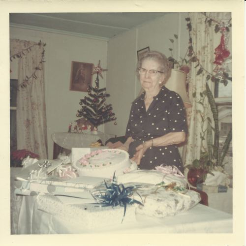 Nancy Alice (Misplay) Lee on her 90th birthday on 1966-12-12 in her home in Chaffee, MO, US.