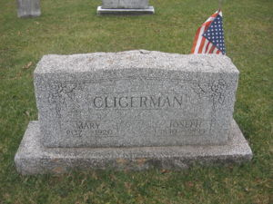 Headstone of Mary and Joseph Clingerman