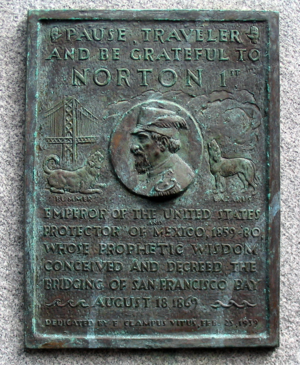 Plaque honoring Emperor Norton