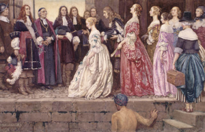 Jean Talon, Bishop François de Laval and several settlers welcome the King's Daughters upon their arrival. Painting by Eleanor Fortescue-Brickdale