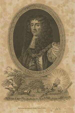 Charles II as king of England.