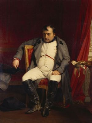 Napoleon at Fontainebleau, painted by Hippolyte Paul Delaroche