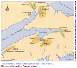 The main settlements of Acadians settlers