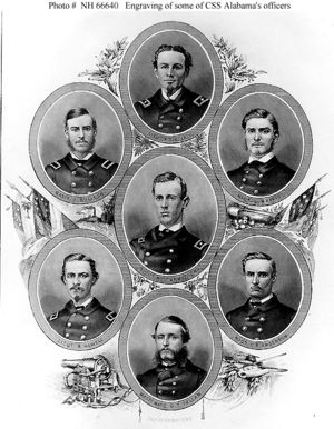 Lt Becket Howell and fellow officers aboard the CSS Alabama