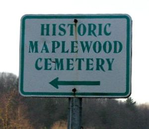 Maplewood Cemetery sign where Miles and Florence are buried