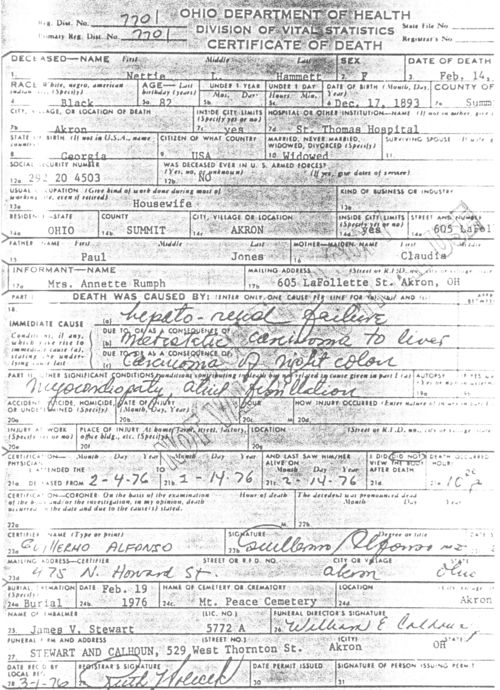 death certificate - nettie (jones) hammett