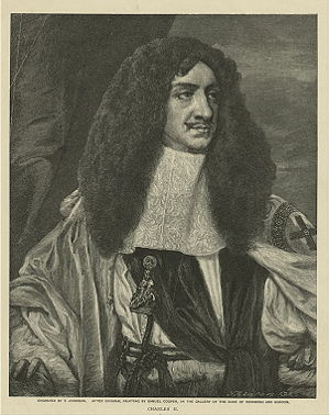 Charles II as king (engraving).