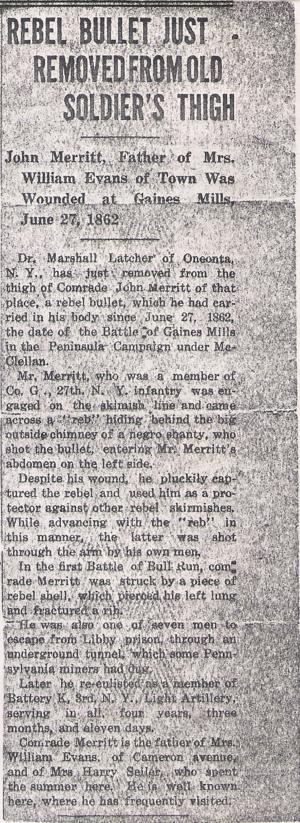 John Merrit Civil War Military History