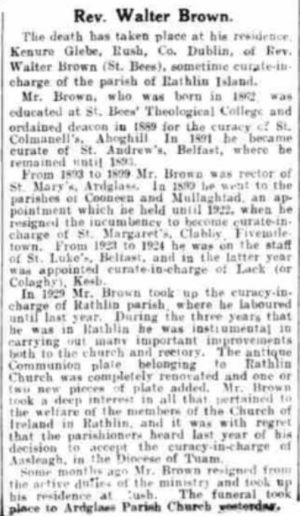 Obituary for Rev. Walter Brown B.A. from: The Northern Whigg & Belfast Post 9 Oct 1933