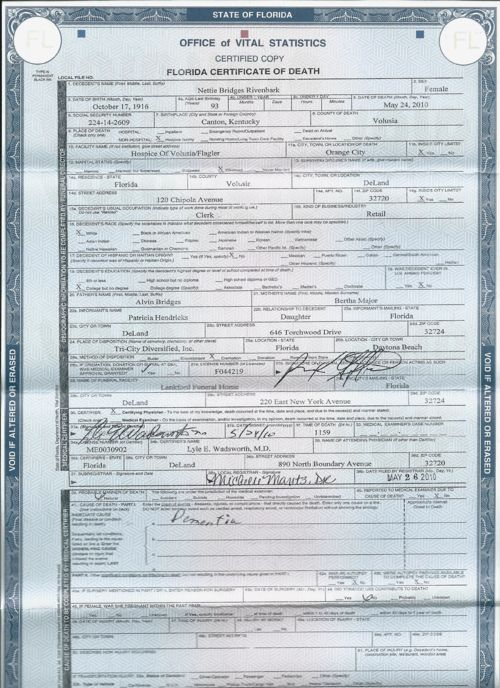 Death Certificate of Nettie Carter Bridges Rivenbark
