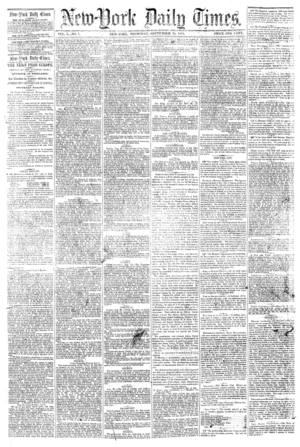 First published issue of ''New-York Daily Times''