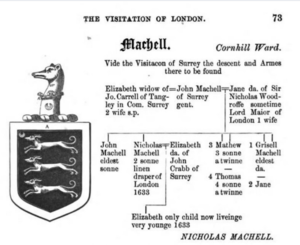 Machell pedigree in the Visitation of London