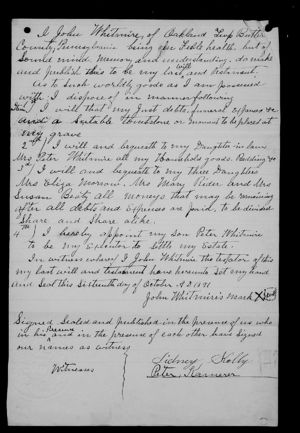Last Will and Testament of John Whitmire