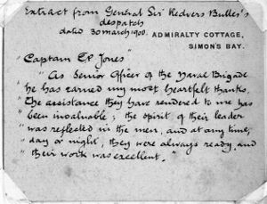 Hand Written Card from Gen Sir R Buller Commander British Forces Natal