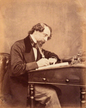 Dickens at his desk, by George Herbert Watkins