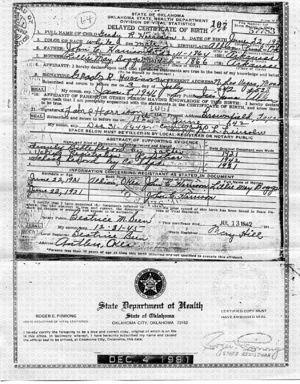 Grady harrison 1921 1981 wikitree free family tree oklahoma birth certificate yadclub Images