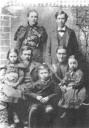 George Washington Sharpe, Agnes Rosanna Wooten Sharpe and children: Martha Sharpe, Lewis Sharpe, Leander Washington Sharpe, Georgia Dora Sharpe, and Rosanna Almedia Sharpe